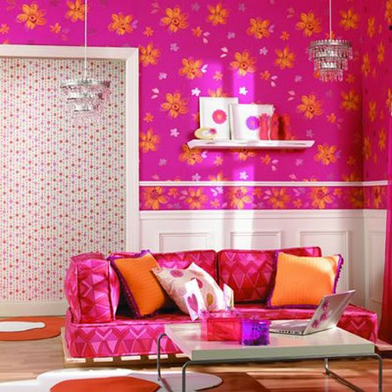 A LOT of pink and orange. Maybe just an accent wall with color like ...
