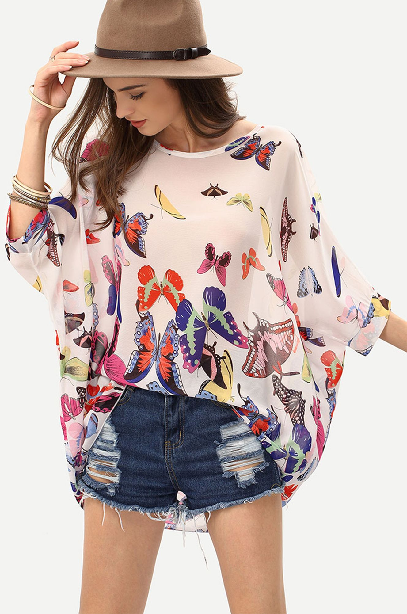 98536c6e1183c8 Floral Summer - Butterfly Print Chiffon Poncho Blouse only US$7.99 from  romwe.com