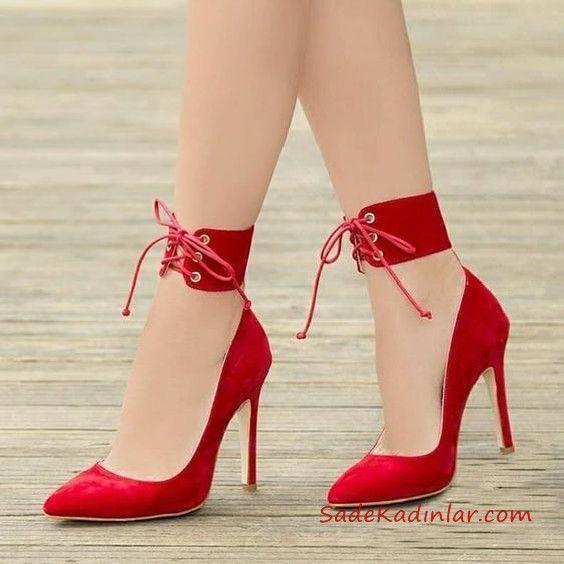 2019 Yazlık Topuklu Ayakkabı Modelleri Kırmızı Önü Kapalı Bilekten Bantlı ve BAğcıklı