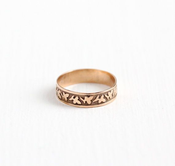Antique Victorian 10k Rose Gold Ivy Leaf Ring Size 4 Vintage Etsy Antique Rings Vintage Rose Gold Band Ring Flower Jewellery