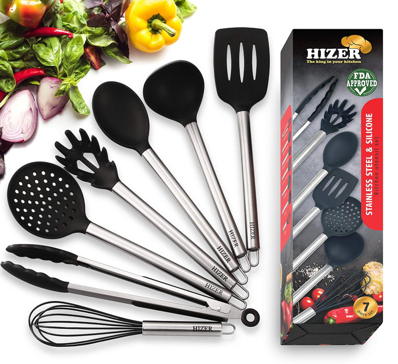 Kitchen Cooking Utensils Set 7 In 1 Stainless Steel Kitchen Cooking Utensils Best Silicon Cooking Utensils Set Silicone Cooking Utensils Silicon Utensils