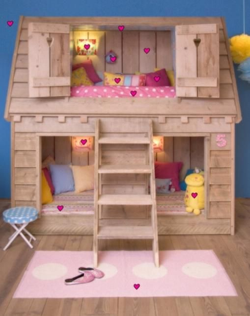 Kids loft beds cute kids loft beds with birdhouse shape for Cute bunk bed rooms