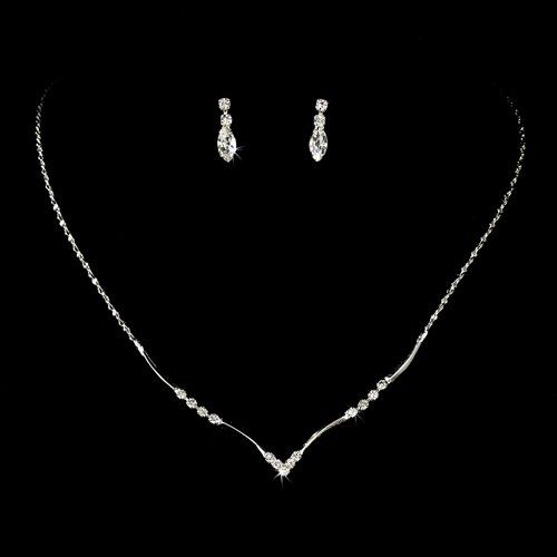 Bridal Wedding Jewelry Set Crystal Rhinestone Simple Elegant Silver