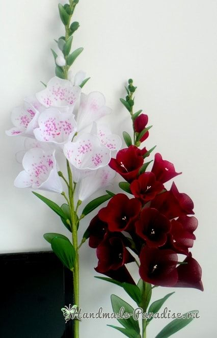 Цветы handmade. Наперстянка из капрона (4)