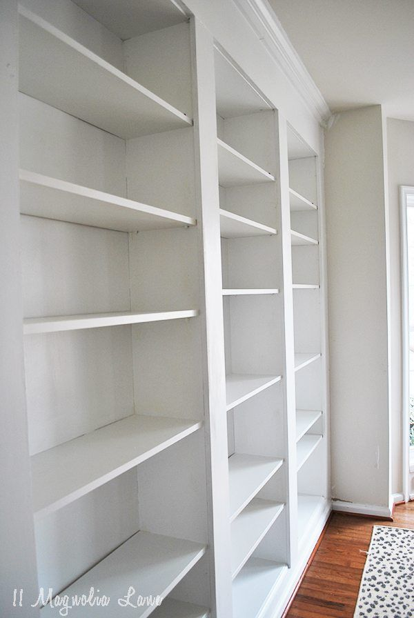 How To Build Diy Built In Bookcases From Ikea Billy Bookshelves Wall Bookshelves Bookshelves Built In Ikea Bookshelves