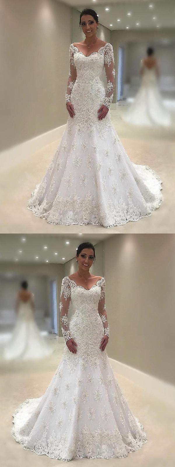 Hot Sale Excellent Lace White Wedding Dresses Mermaid Long ...