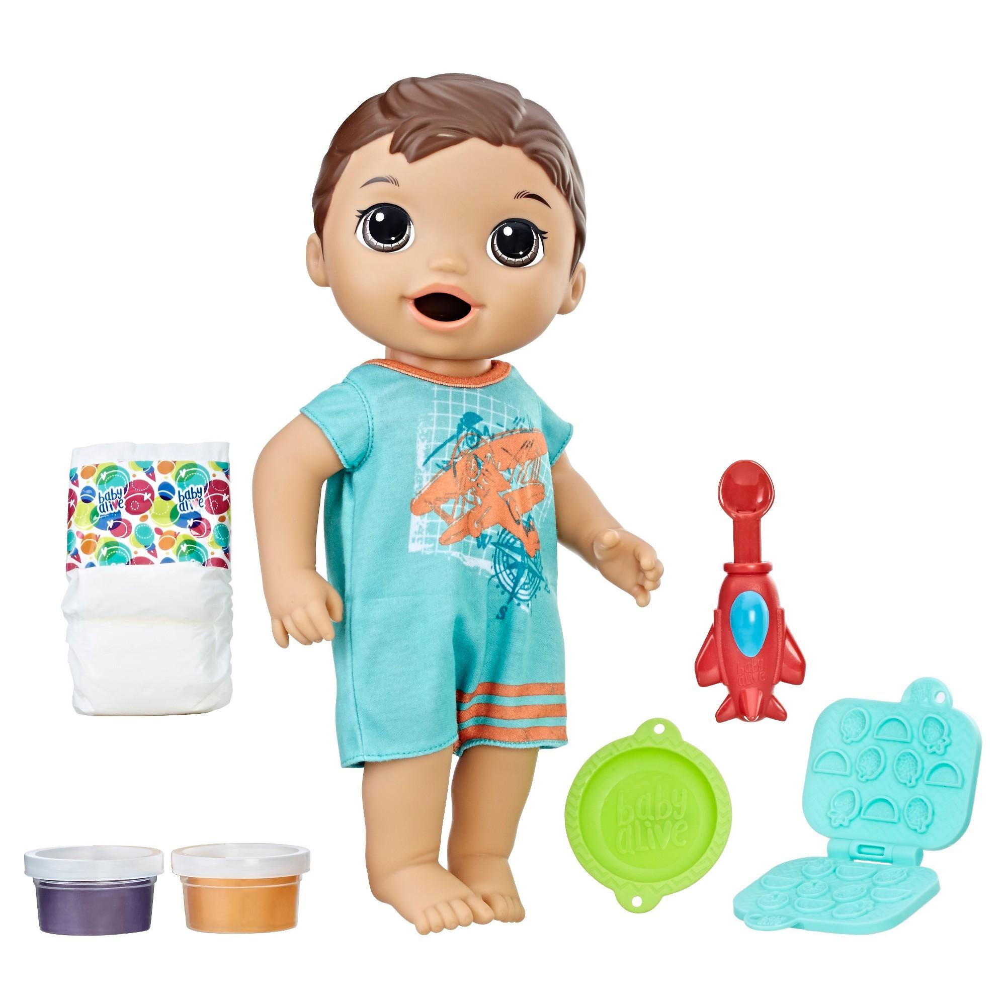 Baby Alive Super Snacks Snackin Luke Brunette Baby Dolls For Kids Baby Dolls Boy Doll