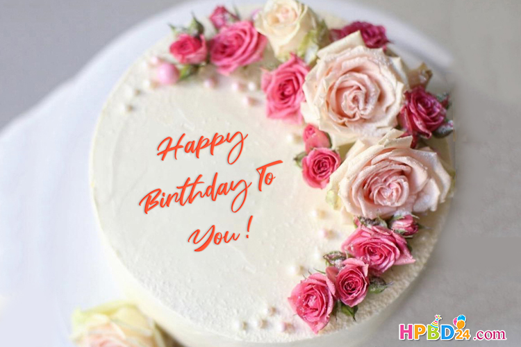 Surprising Rose Flower Birthday Cake With Name Generator Birthday Cake With Personalised Birthday Cards Akebfashionlily Jamesorg