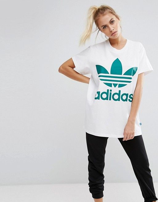 adidas Originals Big Trefoil Tee In White And Green at asos.com