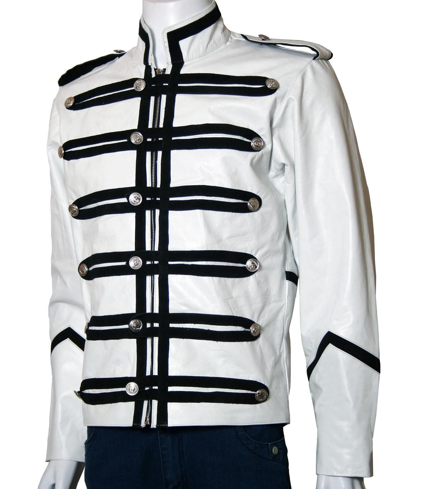 White Leather Military Jacket for Men has been designed