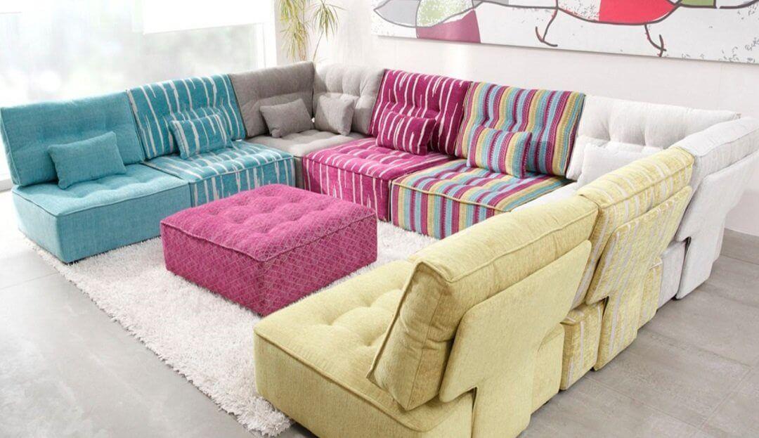 Alice Modular U-Shaped Sofa with Footstool [6XA+2XC+D] | Large ...