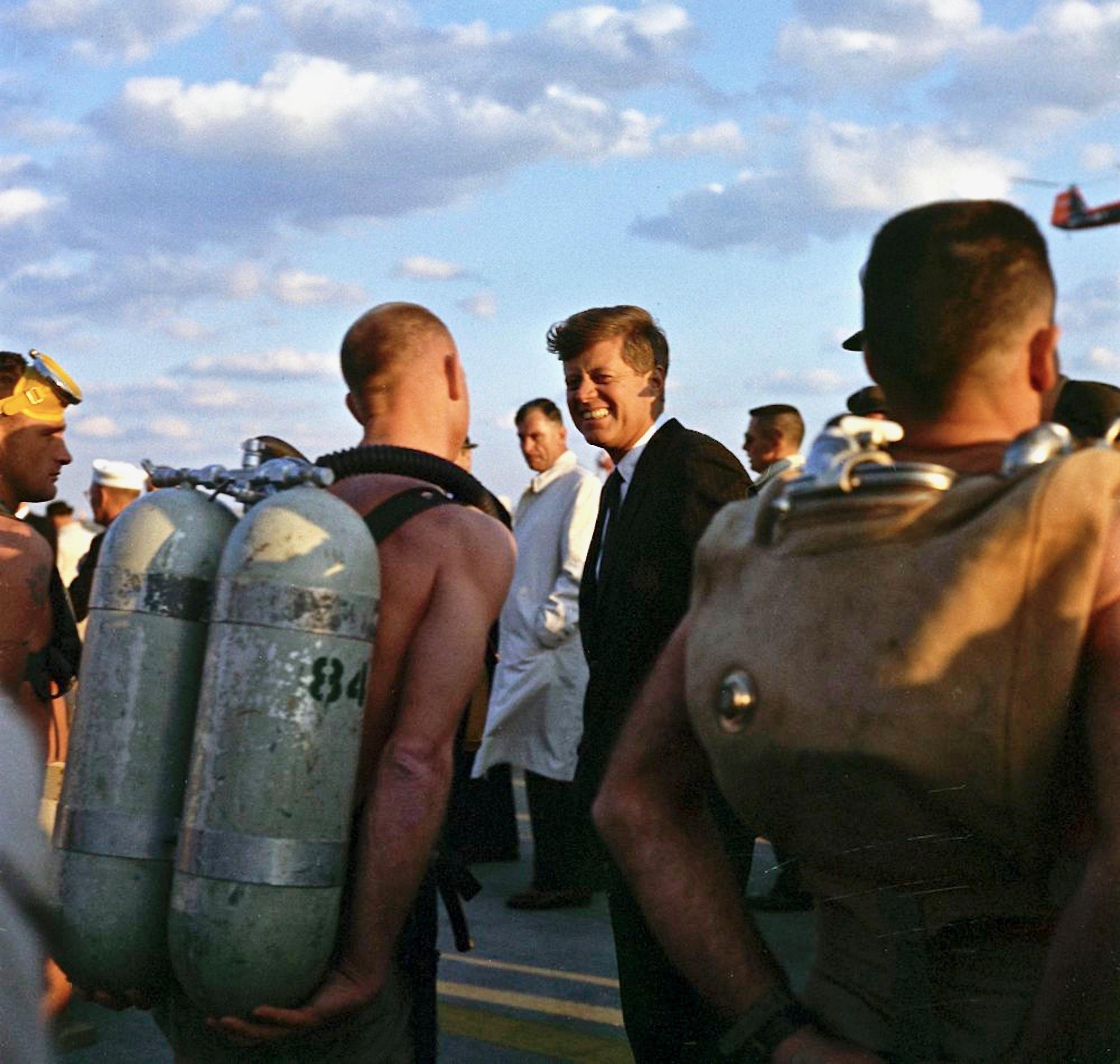 President John F Kennedy Former Navy Lt Speaks With SEAL Team 2