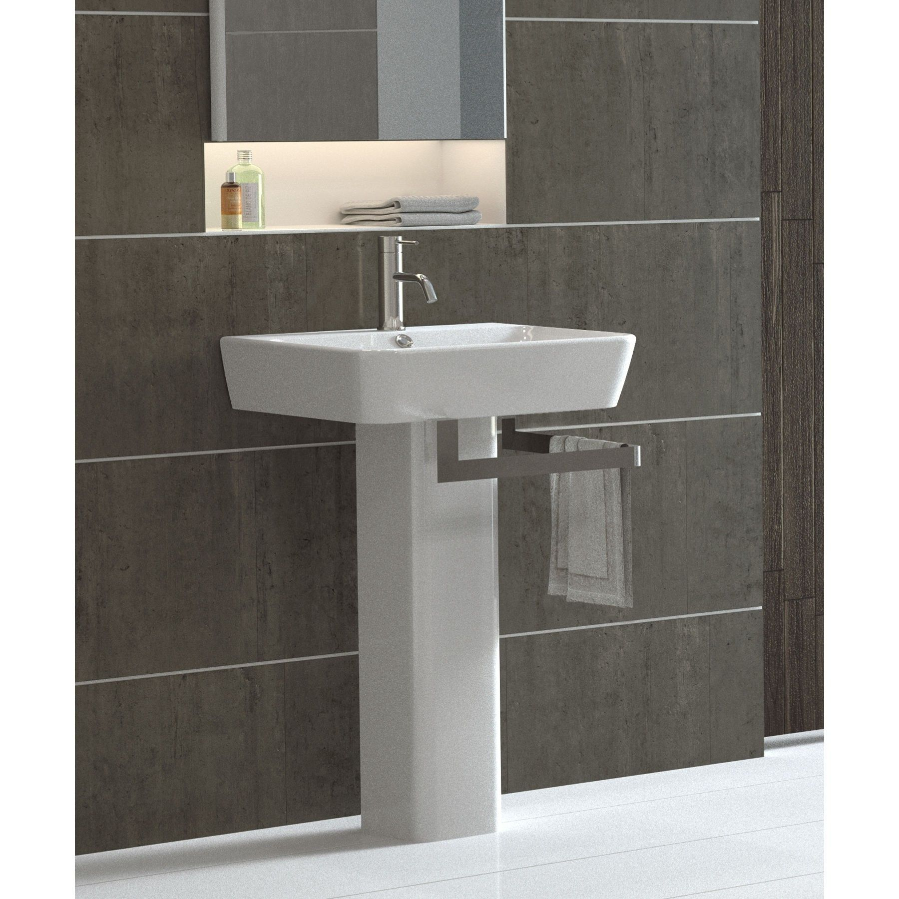 pedestal sink or vanity in small bathroom%0A Bissonnet Emma        Full Pedestal Overflow Bathroom Sink With