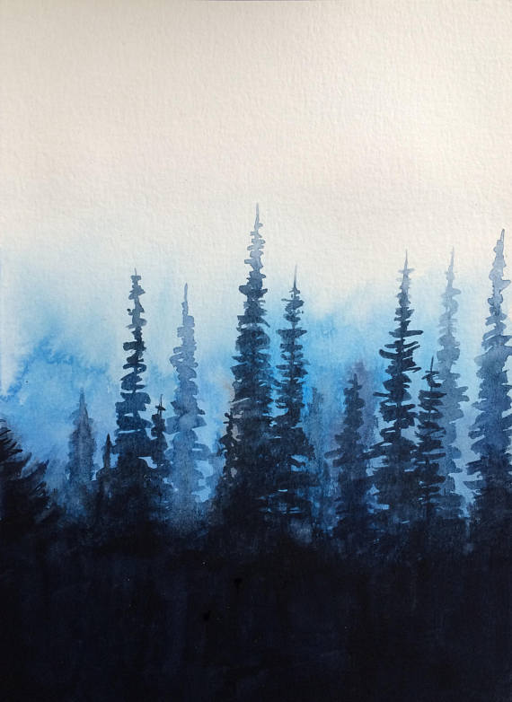 Rest Painting Pine Tree Forest Misty Mountains Landscape Misty Trees Misty Forest