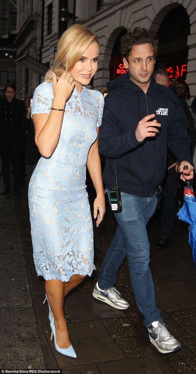 Amanda Holden Shows Off Her Curves In Pretty Blue Lace Dress