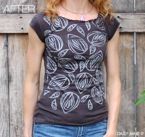 Redesigned Tee.  I am not going to take the time to do this anytime soon, but I do love it.  Great job Daisy Janie.
