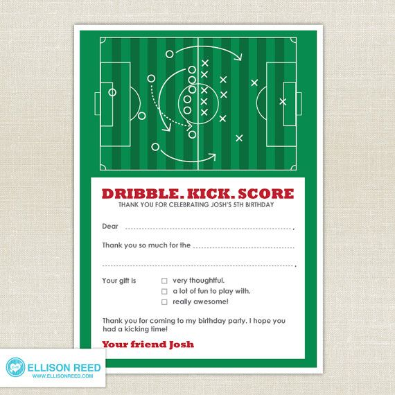 Soccer Birthday Thank You Note Printable By EllisonReed 1200