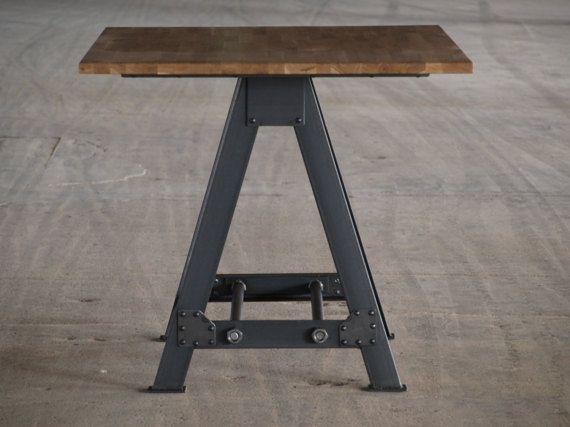 Industrial una tapa de mesa cocina isla roble marco for Muebles para comedores industriales