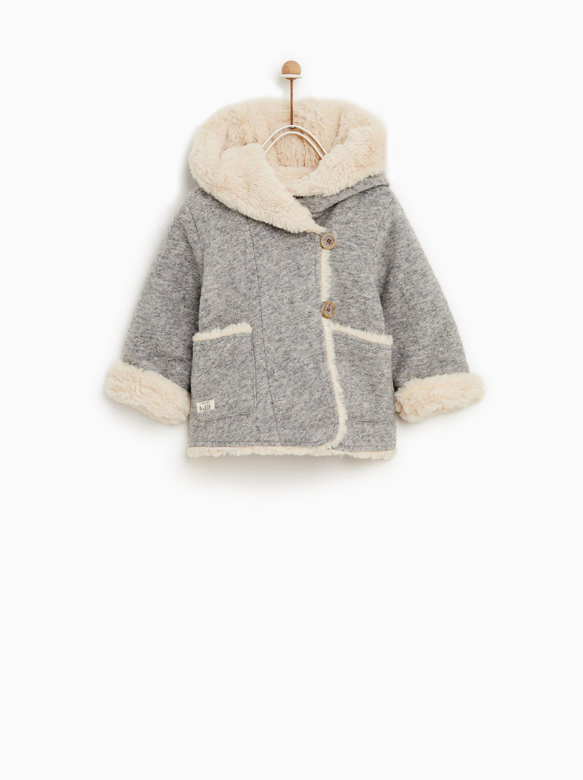 Hooded threequarterlength coat Baby vest, Newborn