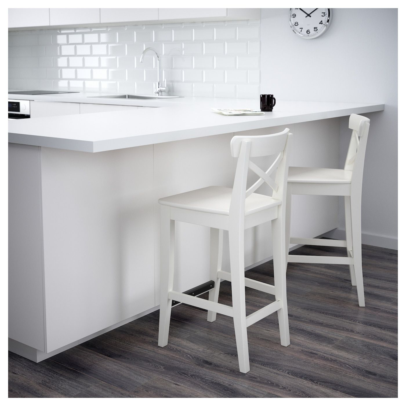 Ingolf Bar Stool With Backrest White 24 3 4 63 Cm Bar