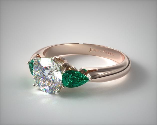 41357 engagement rings, three stone, 14k rose gold three stone pear shaped emerald engagement ring item - Mobile