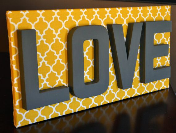 Love Yellow & Gray Modern Chic Wall Art Wall Hanging Sign Home ...