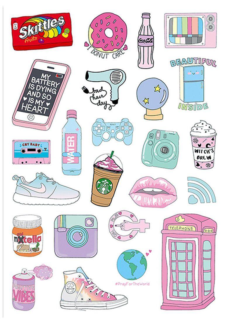 24pcs cute stickers laptop sticker suitcase sticker