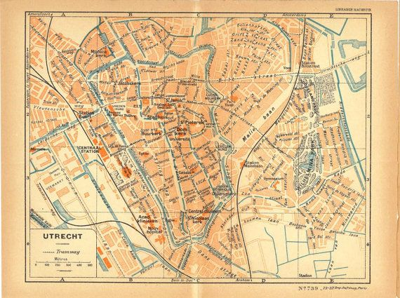 Utrecht City Map 1926 Street Plan Netherlands Lithograph | Hollands ...