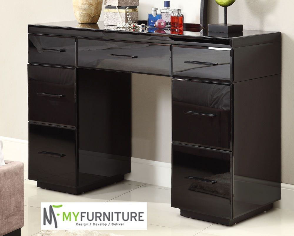 Rio Mirrored Black Glass Dressing Table Console 7 Drawer Mirror