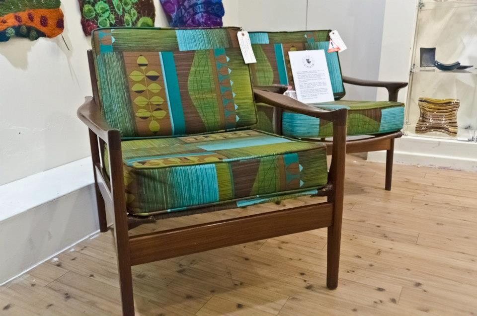 Mid Century Armchairs Reupholstered With 1960s Vintage Fabric.