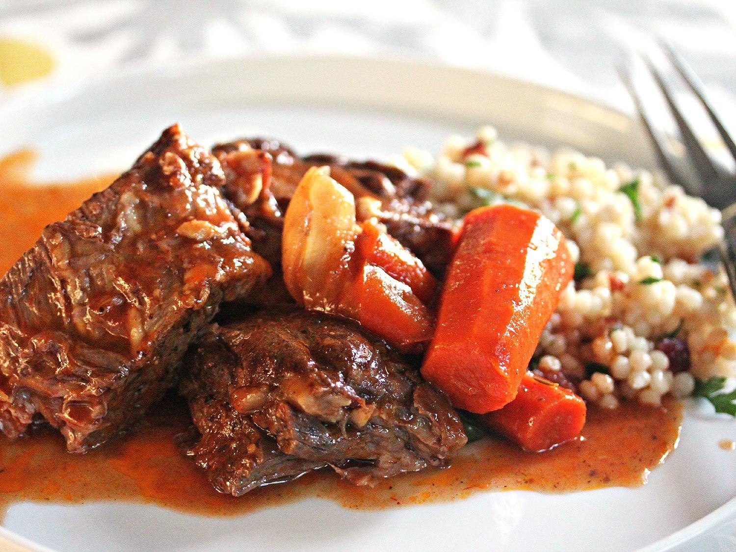 Moroccan Pot Roast With Dried Cherry Couscous Recipe Recipe Pot Roast Couscous Recipes Beef Recipes
