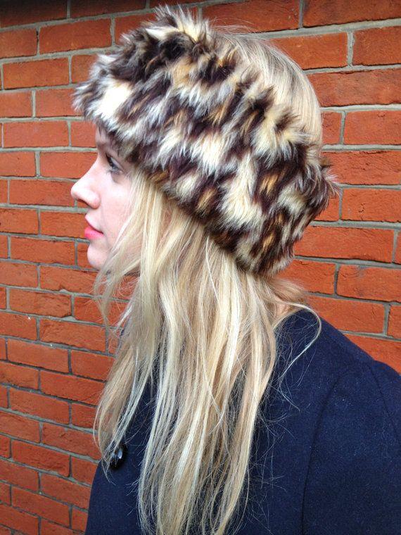 Faux Fur Leopard Print Headband