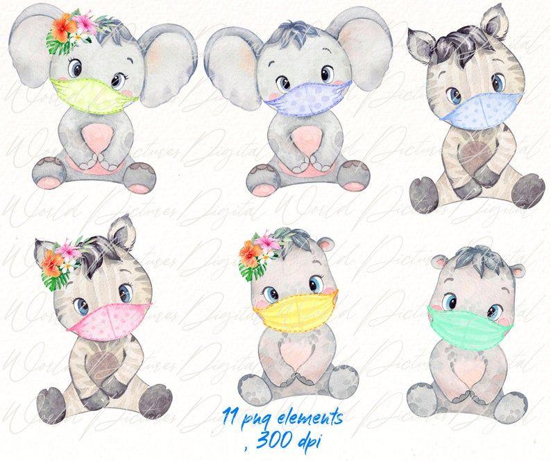 Safari Animals And Medicine Masks Clipart Watercolor Baby Etsy In 2021 Animals Safari Animals Tropical Animals
