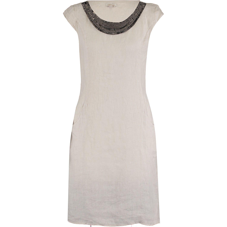 Lina Tomei Beige Embellished Linen Dress Tk Ma