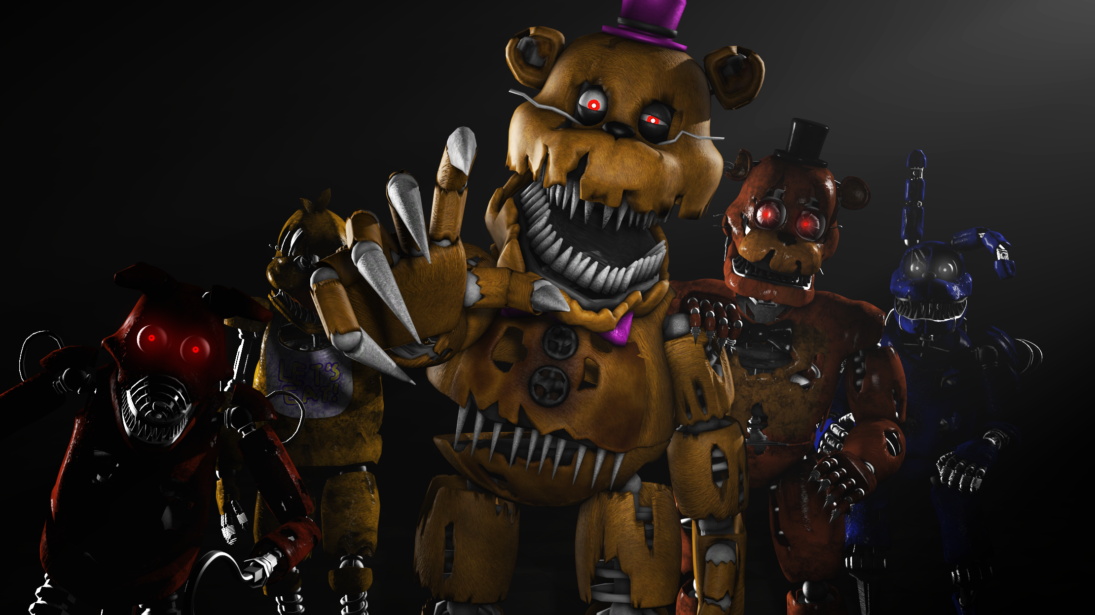 Fnaf 4 Band Group Photo )