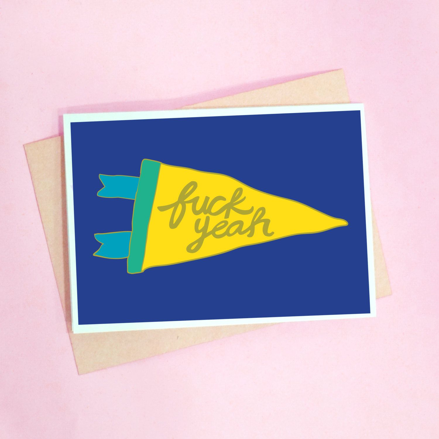 Fuck Yeah Pun Greeting Card Funny Humour By Radcreativeco On