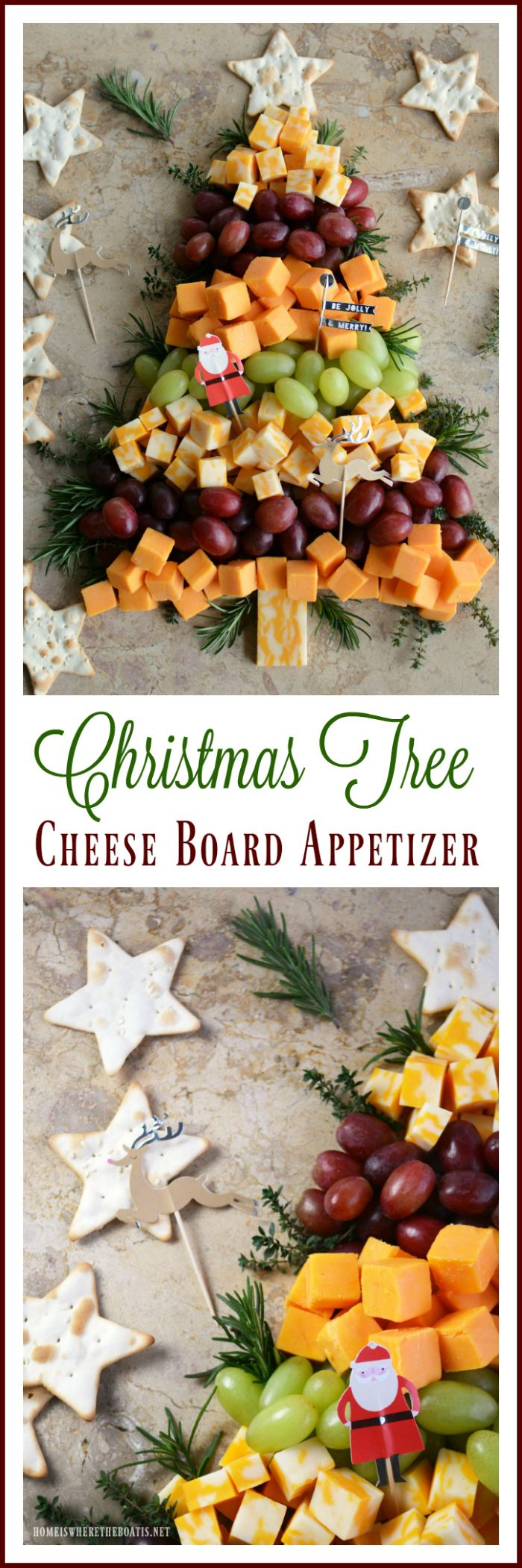 Christmas Appetizer Ideas For Parties Part - 15: Easy Holiday Appetizer: Christmas Tree Cheese Board |  Homeiswheretheboatis.net #party