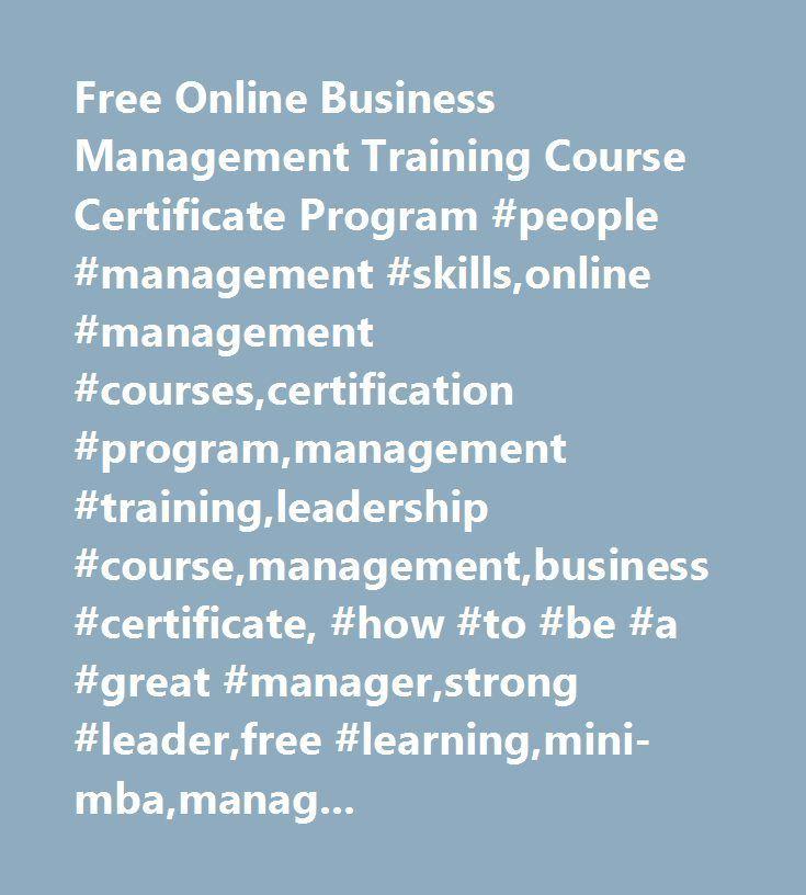 Free Online Business Management Training Course Certificate Program