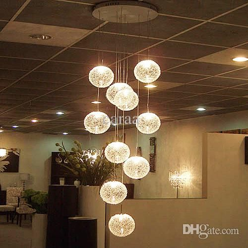 Modern Brief Long Stair E27 Led Round Glass Ball Chandelier 10
