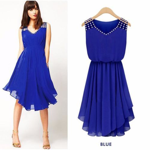 Casual Chiffon Rhinestone Sleeveless Tunic Flared Sundress Women Summer Dresses