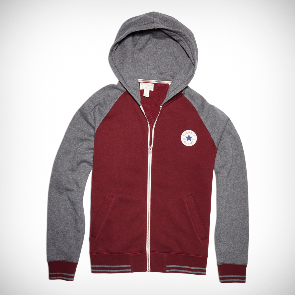 Mens Chuck Taylor Patch Hooded Baseball Jacket deep bordeaux | oh ...
