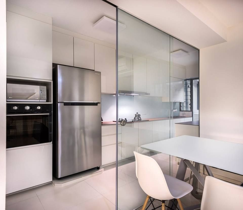 8 Ways To Do A Semi Open Kitchen In Your Hdb Frameless Glass Walls Are Perhaps The Mos Semi Open Kitchen Semi Open Kitchen Design Open Kitchen And Living Room