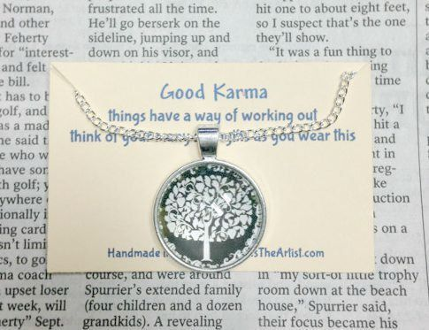 NECKLACE Silver Tree Of Life Good Karma Jewelry Quote Dandelion Wish Friendship Gift by FosterChildWhimsy on Etsy