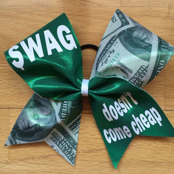 Swag Doesn't Come Cheap Holographic Cheer Bow!