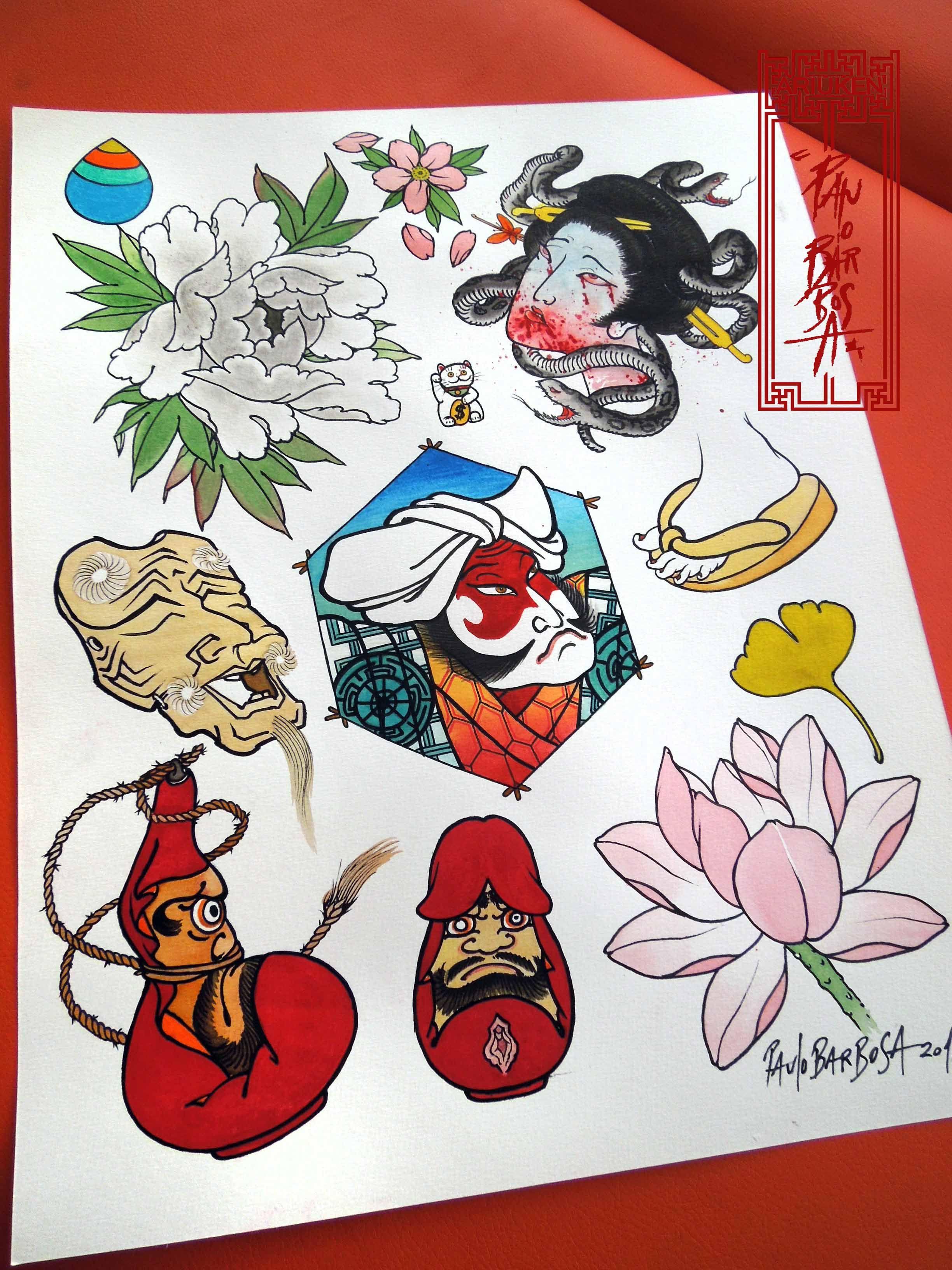 Tattoo flash art by paulo barbosa ariuken art on for Japanese tattoo flash