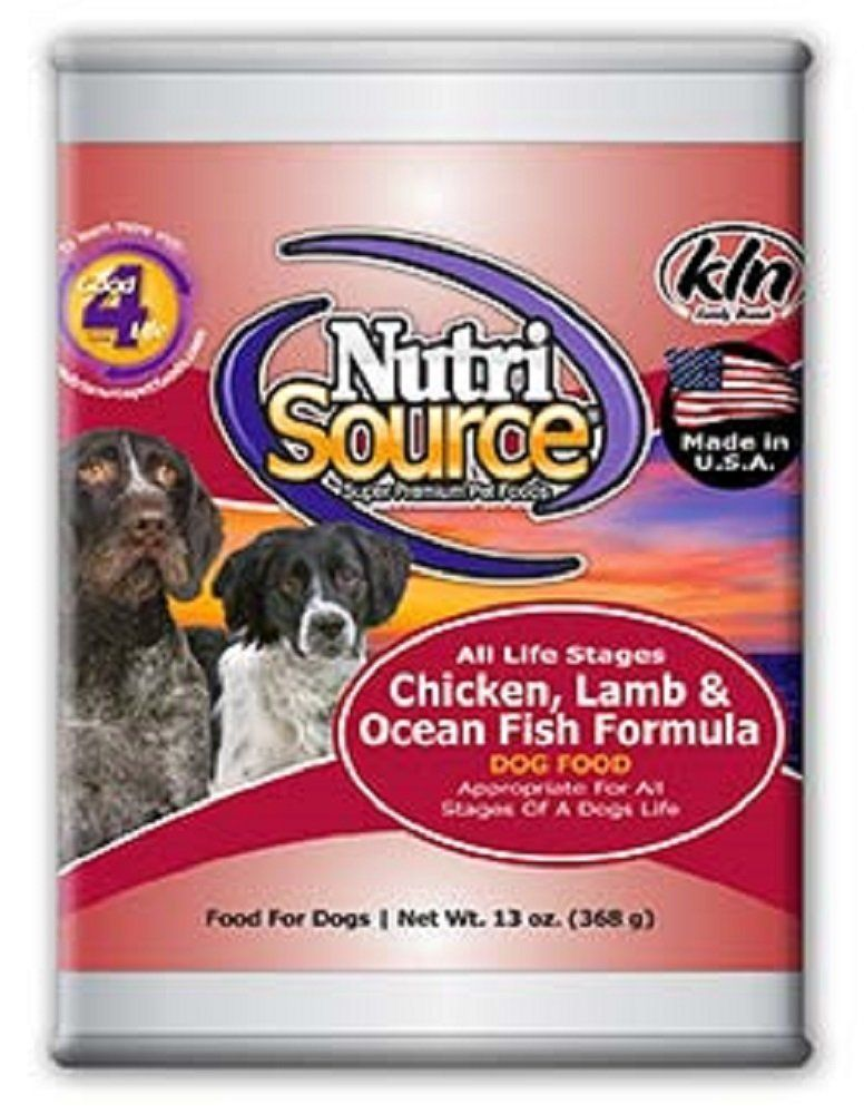 NutriSource Chicken Lamb and Fish Canned Dog Food 12/13 oz