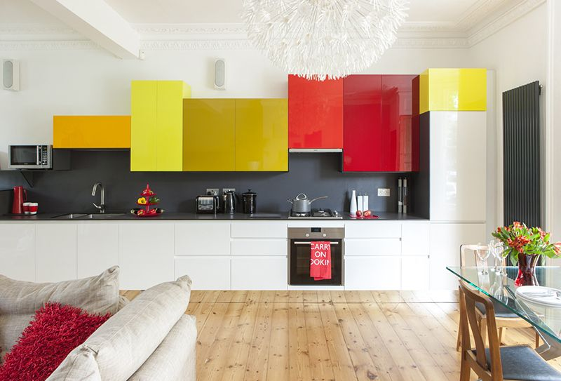 Colorful Kitchen Cabinets colourful wall cabinet in random sizes. intriguing! | kitchens