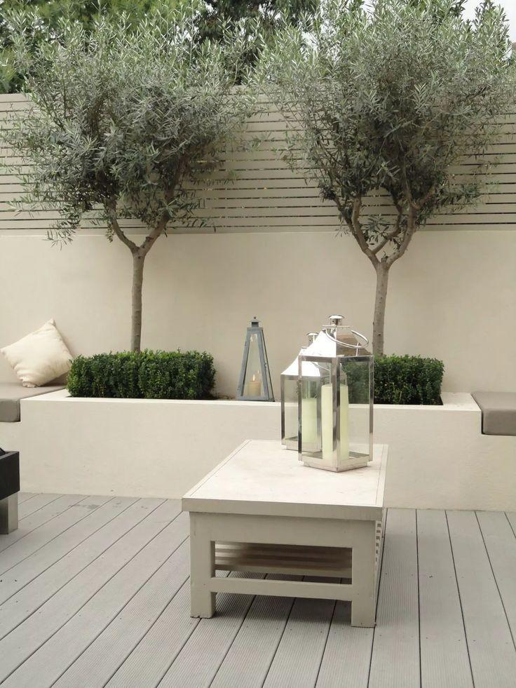 Urban Garden Design Inspiration für den Olivenbaum #design #garden #inspiratio … #contemporarygardendesign