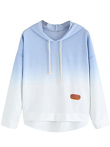 Blue Ombre Hoodie River Island