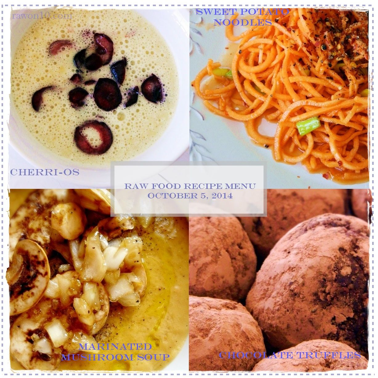 Raw on 10 a day or less raw food recipe menu october 5 2014 raw food recipe menu forumfinder Images